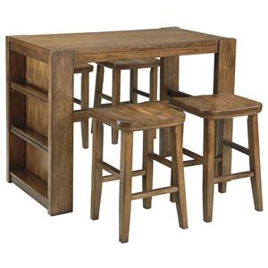 Signature Design by Ashley Birnalla 5-Piece Rectangular Counter Table Set