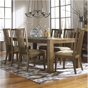 Signature Design by Ashley Birnalla 7-Piece Rectangular Extension Table Set