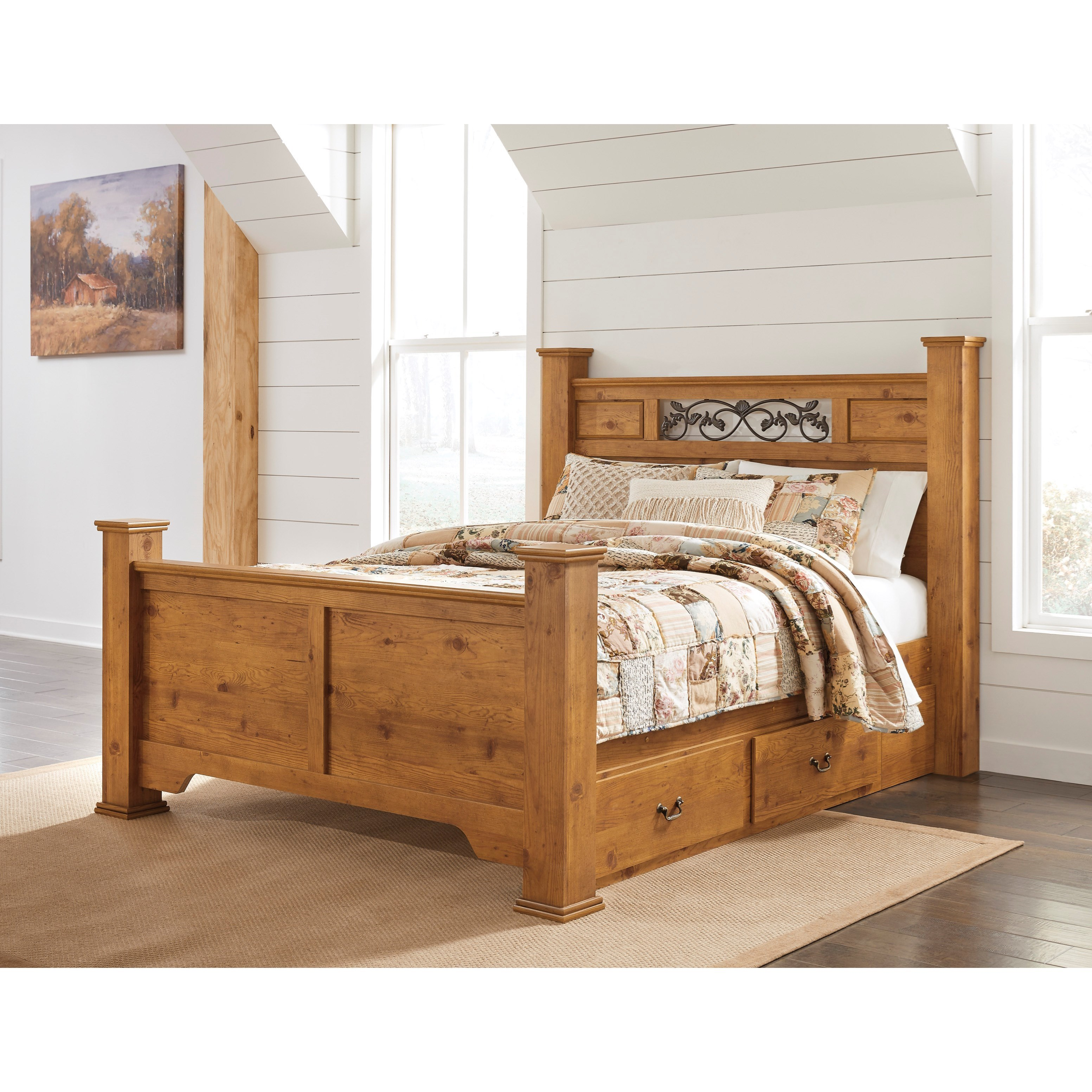 Queen poster bed with under bed storage by signature - Bed with storage underneath ...