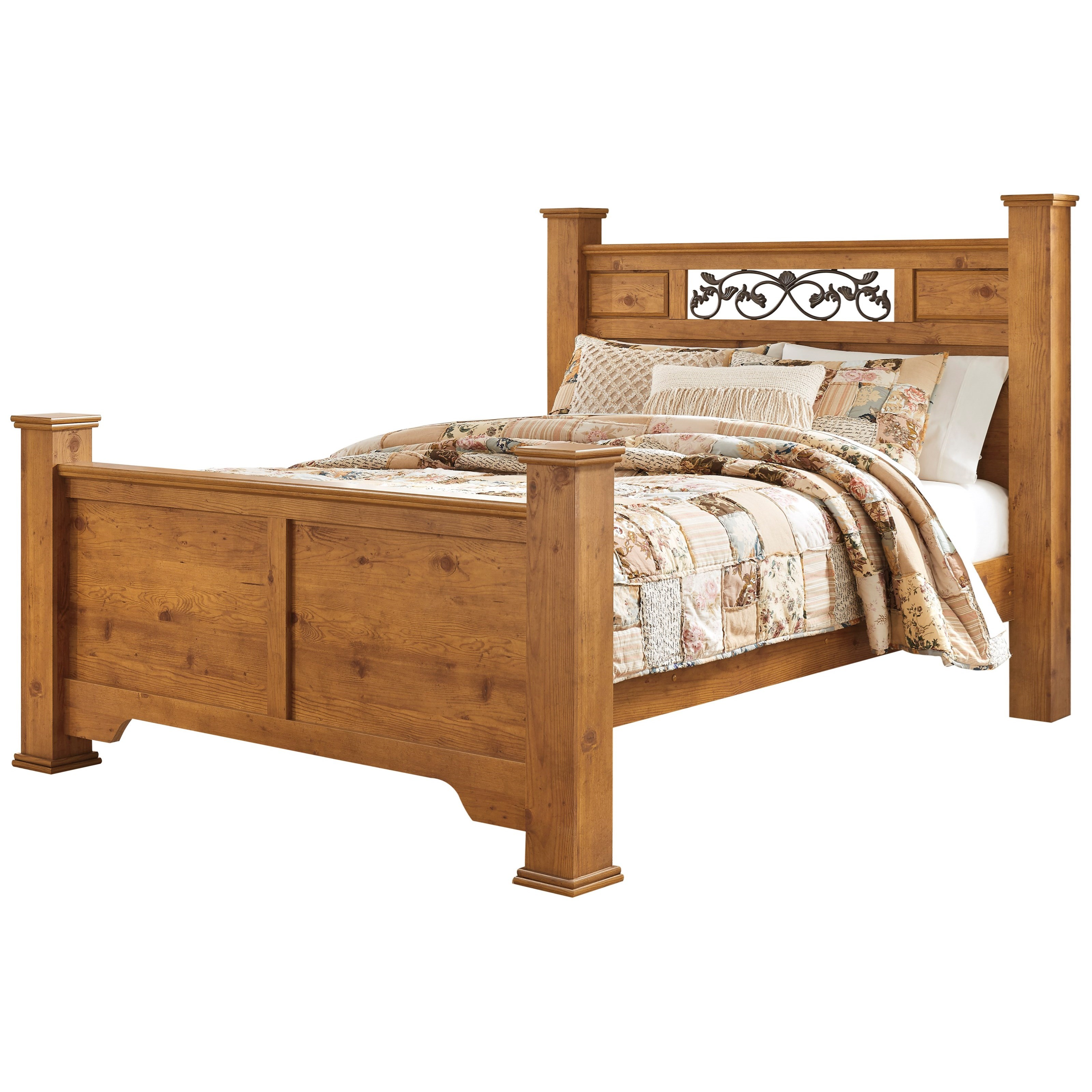 Queen Poster Bed With Scrolled Accents By Signature Design