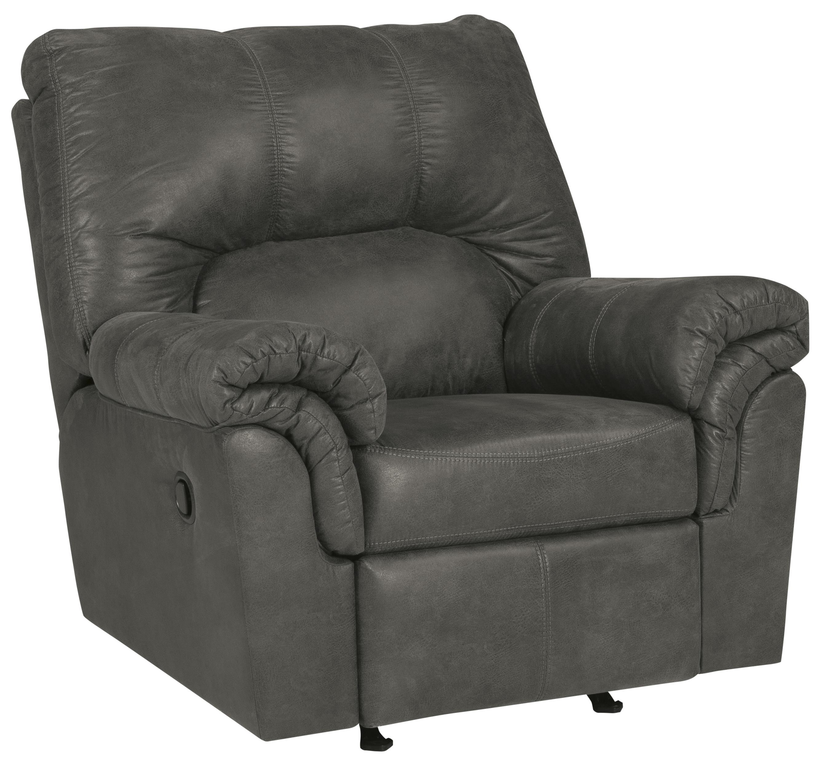 Faux Leather Rocker Recliner with Pillow Arms