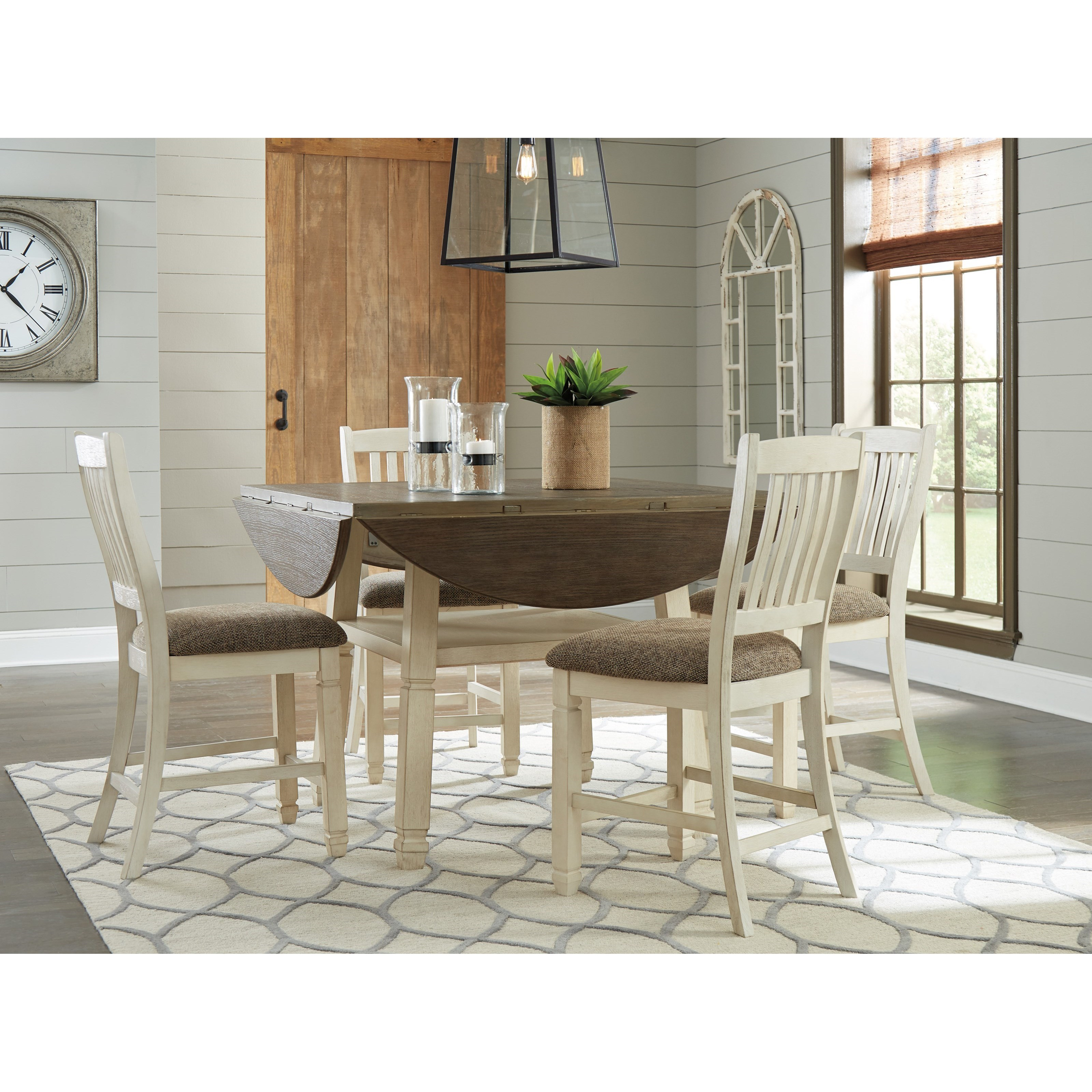 1152b408c4 Relaxed Vintage 7-Piece Square/Round Drop Leaf Counter Table Set by ...
