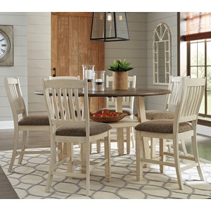 Relaxed Vintage 7-Piece Square/Round Drop Leaf Counter Table Set