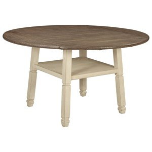 Square/Round Drop Leaf Counter Table with Shelf