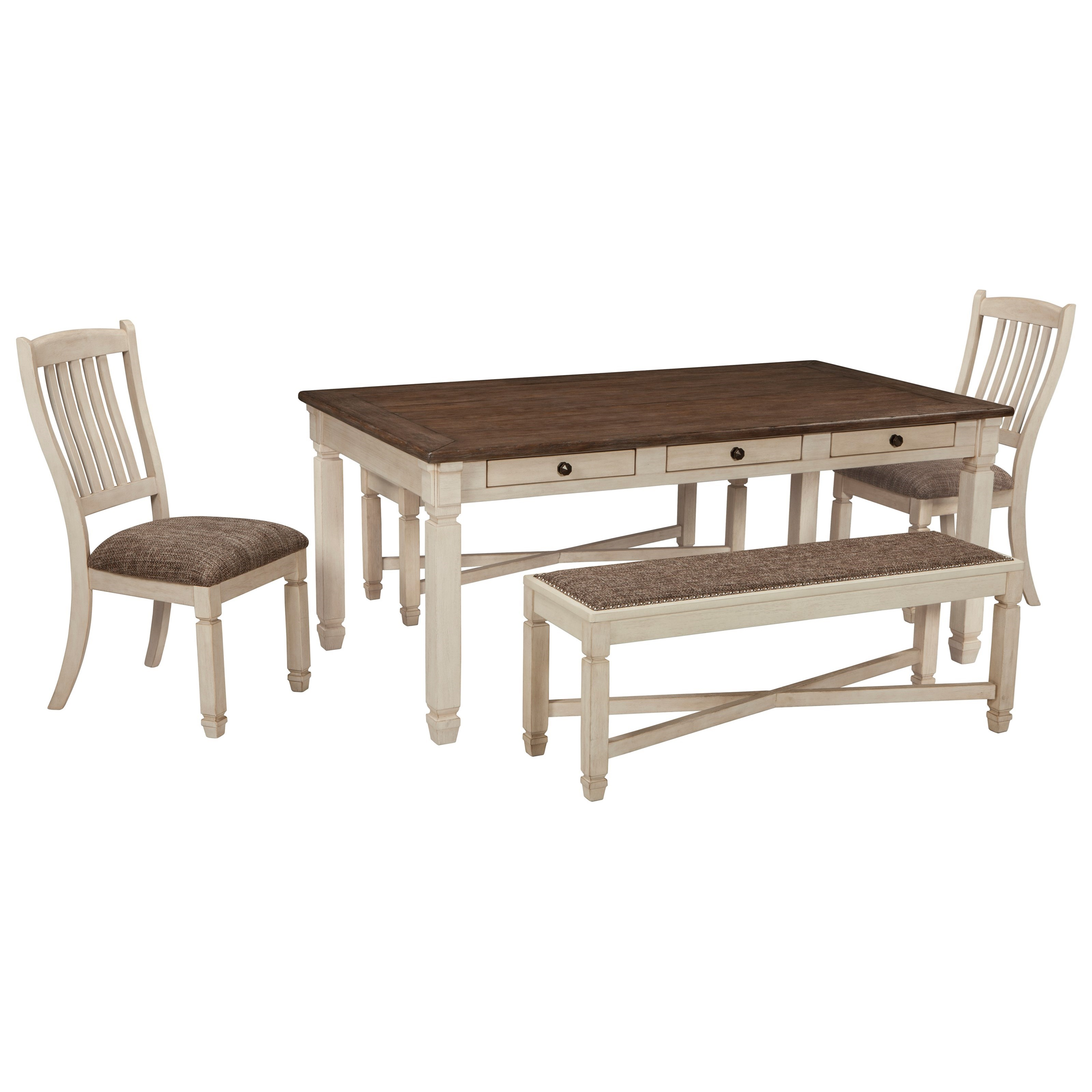 Rectangle Dining Table With Bench: Relaxed Vintage Rectangular Dining Room Table With 6