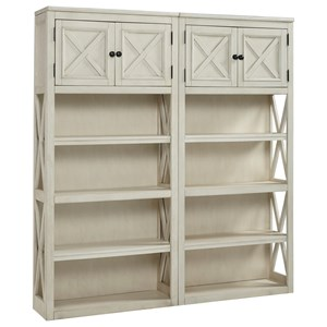 2 Large Open Bookcases with Doors