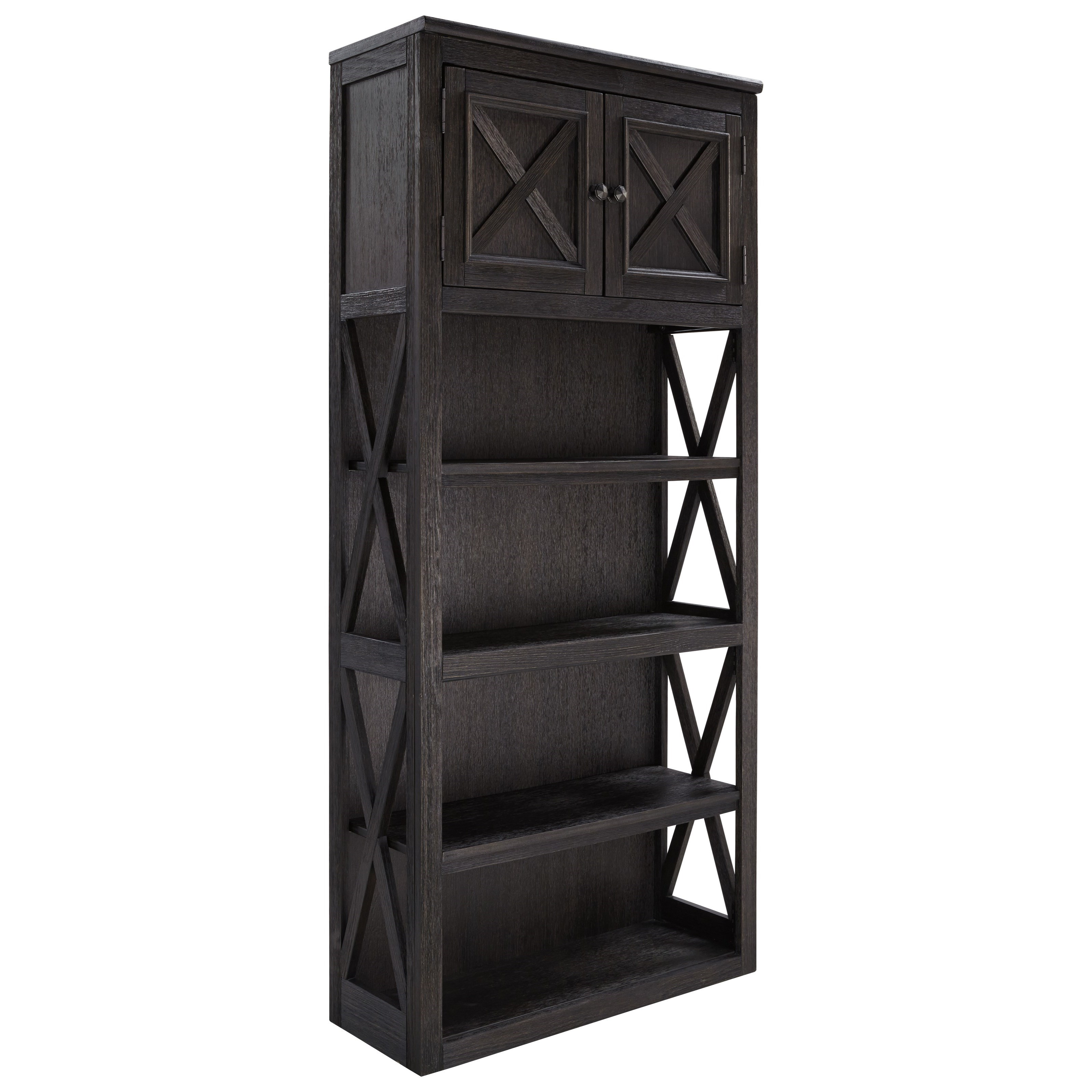 Large Open Bookcase with 2 Doors