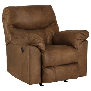 Casual Rocker Recliner with Pillow Arms
