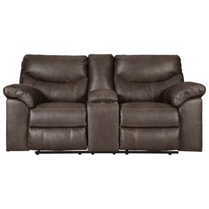 Casual Double Reclining Loveseat with Center Console