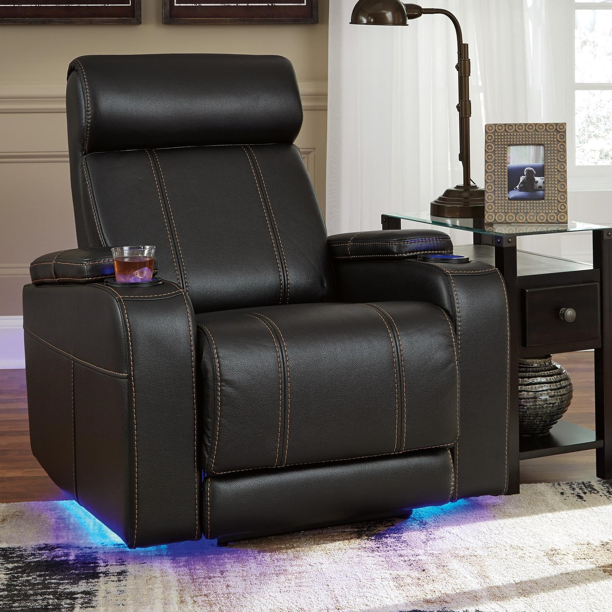 Faux Leather Power Recliner With Cup Holders Storage U0026 LED  Lighting Recliner Cup Holder And Storage P37