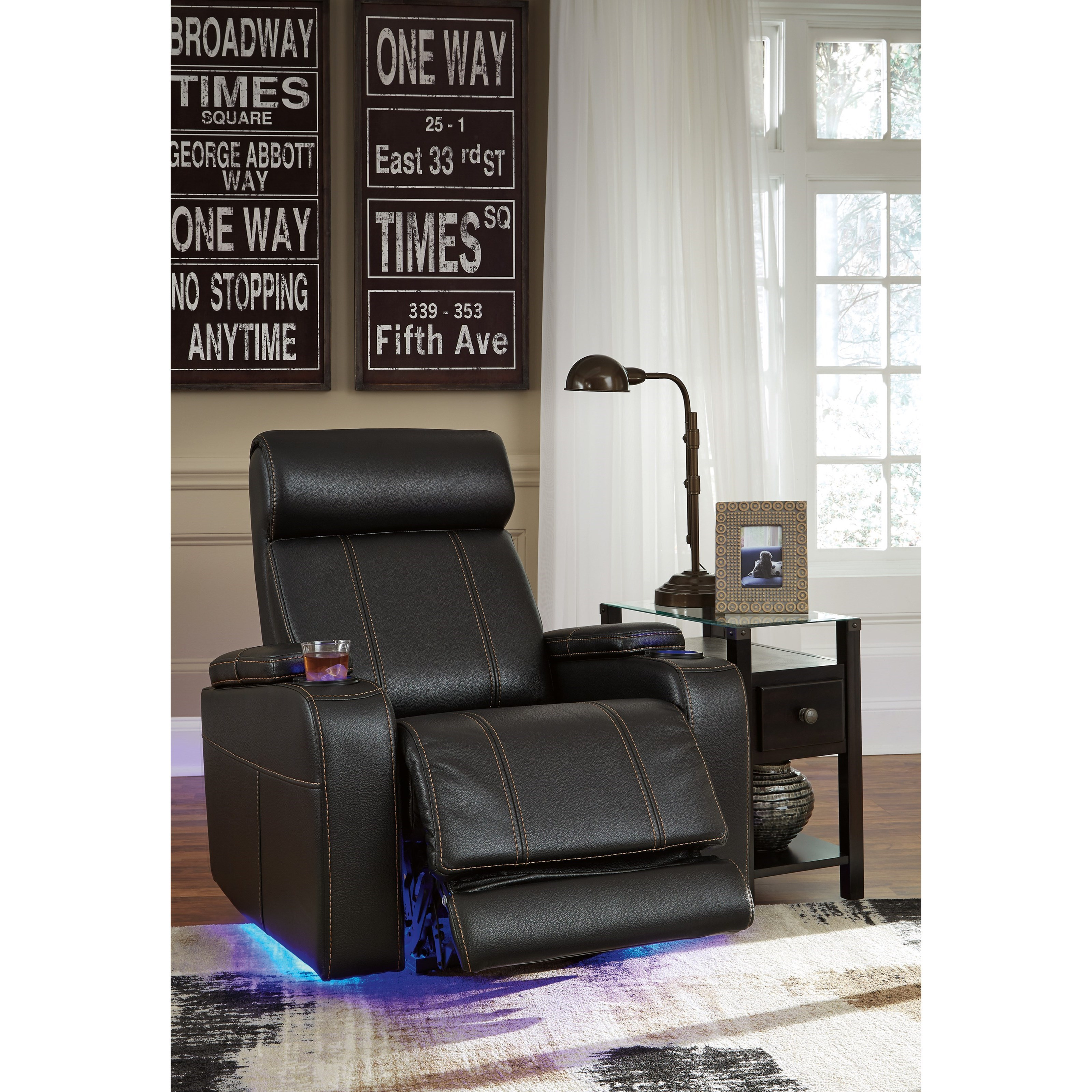 Faux Leather Power Recliner With Cup Holders, Storage, Cup Holders, U0026 LED  Lighting