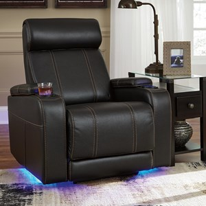 Faux Leather Power Recliner with Cup Holders, Storage, Cup Holders, & LED Lighting