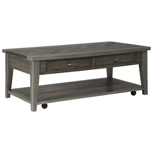 Rectangular Cocktail Table with Casters