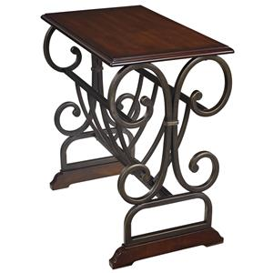 Traditional Chair Side End Table with Scrolled Metal