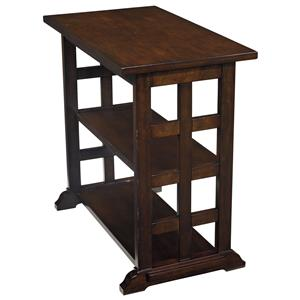 Chair Side End Table with Lattice Design & 2 Shelves