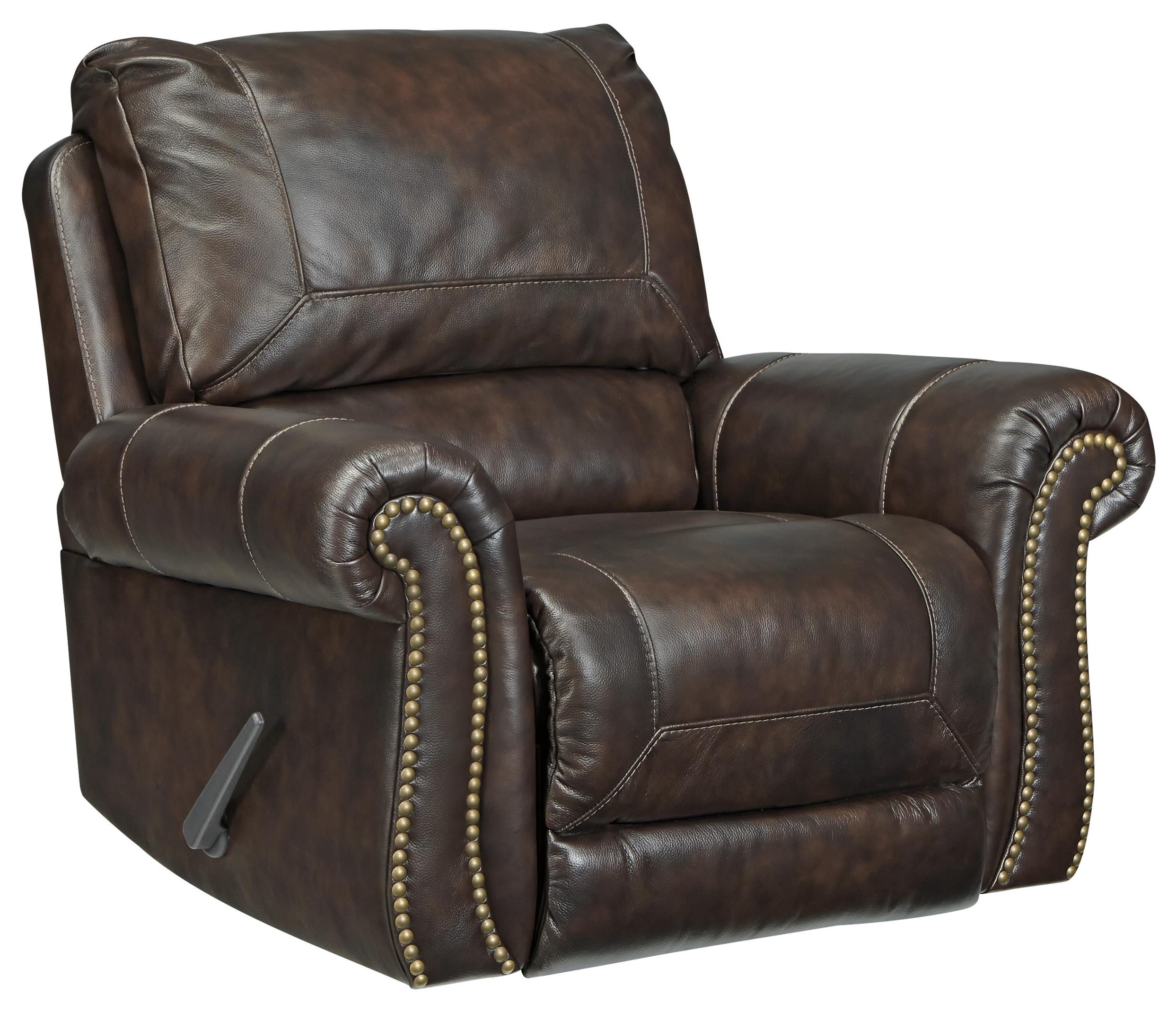 Traditional Leather Match Rocker Recliner With Rolled Arms