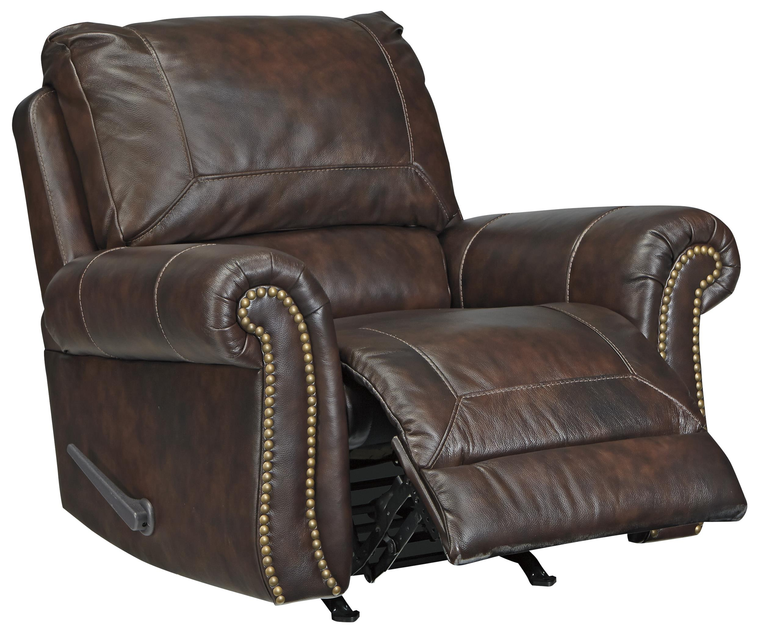 Traditional Leather Match Rocker Recliner With Rolled Arms Amp Nailhead Trim By Signature Design