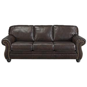 Traditional Leather Match Sofa with Rolled Arms & Nailhead Trim