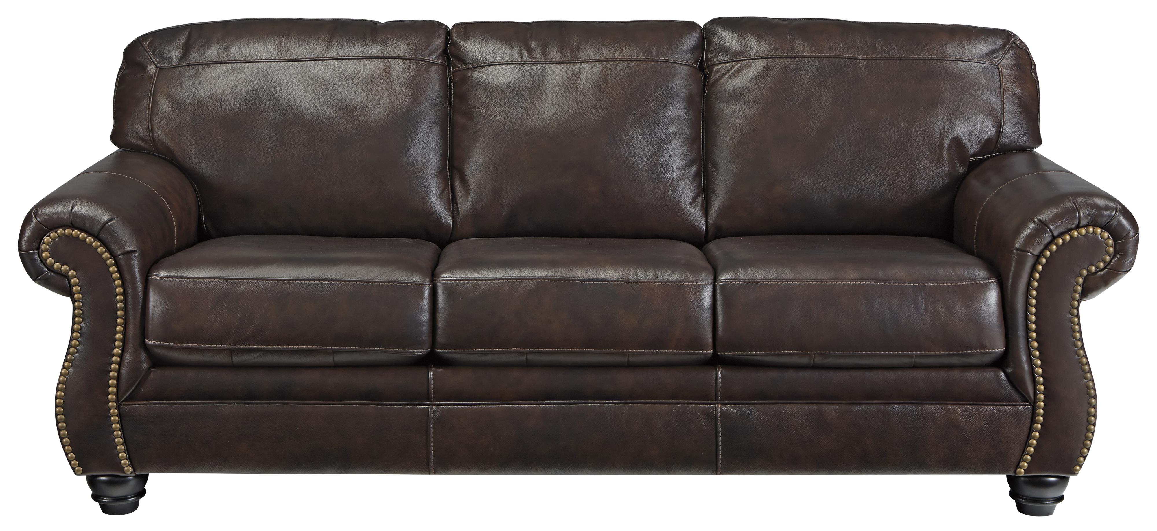Traditional Leather Match Queen Sofa Sleeper with Rolled ...