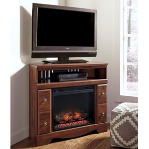 Cherry Finish Corner TV Stand with Fireplace Insert