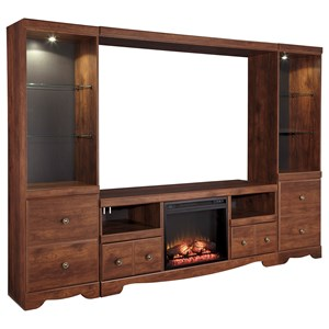 Cherry Finish Large TV Stand with Fireplace Insert, 2 Tall Piers, & Bridge