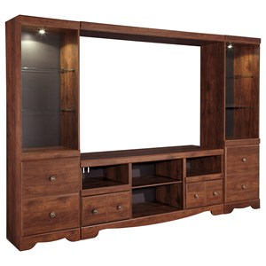 Cherry Finish Large TV Stand with 2 Tall Piers & Bridge