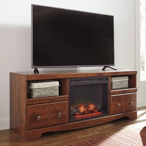 Cherry Finish Large TV Stand with Fireplace Insert
