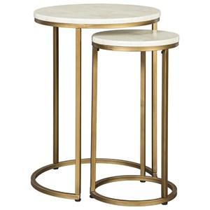 Glam Nesting End Tables with Faux Marble Top