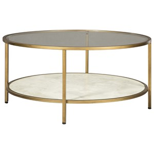 Glam Round Cocktail Table with Glass Top