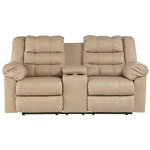 Signature Design by Ashley Furniture Brolayne DuraBlend® Double Reclining Loveseat w/ Console
