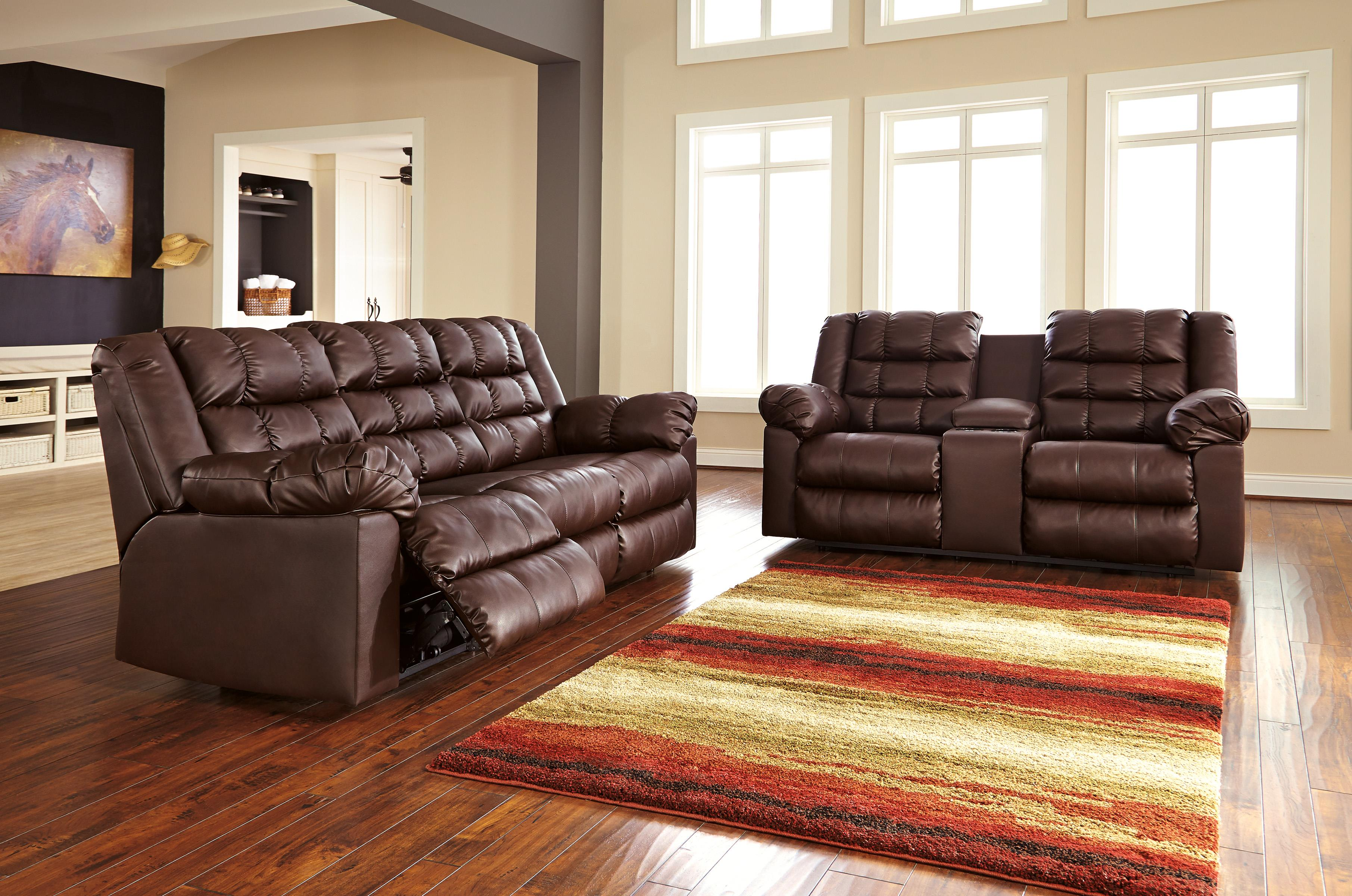 Casual Contemporary Reclining Faux Leather Sofa By