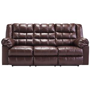 Casual Contemporary Reclining Faux Leather Sofa