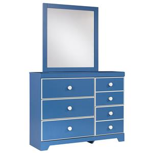 Contemporary 5-Drawer Dresser & Bedroom Mirror
