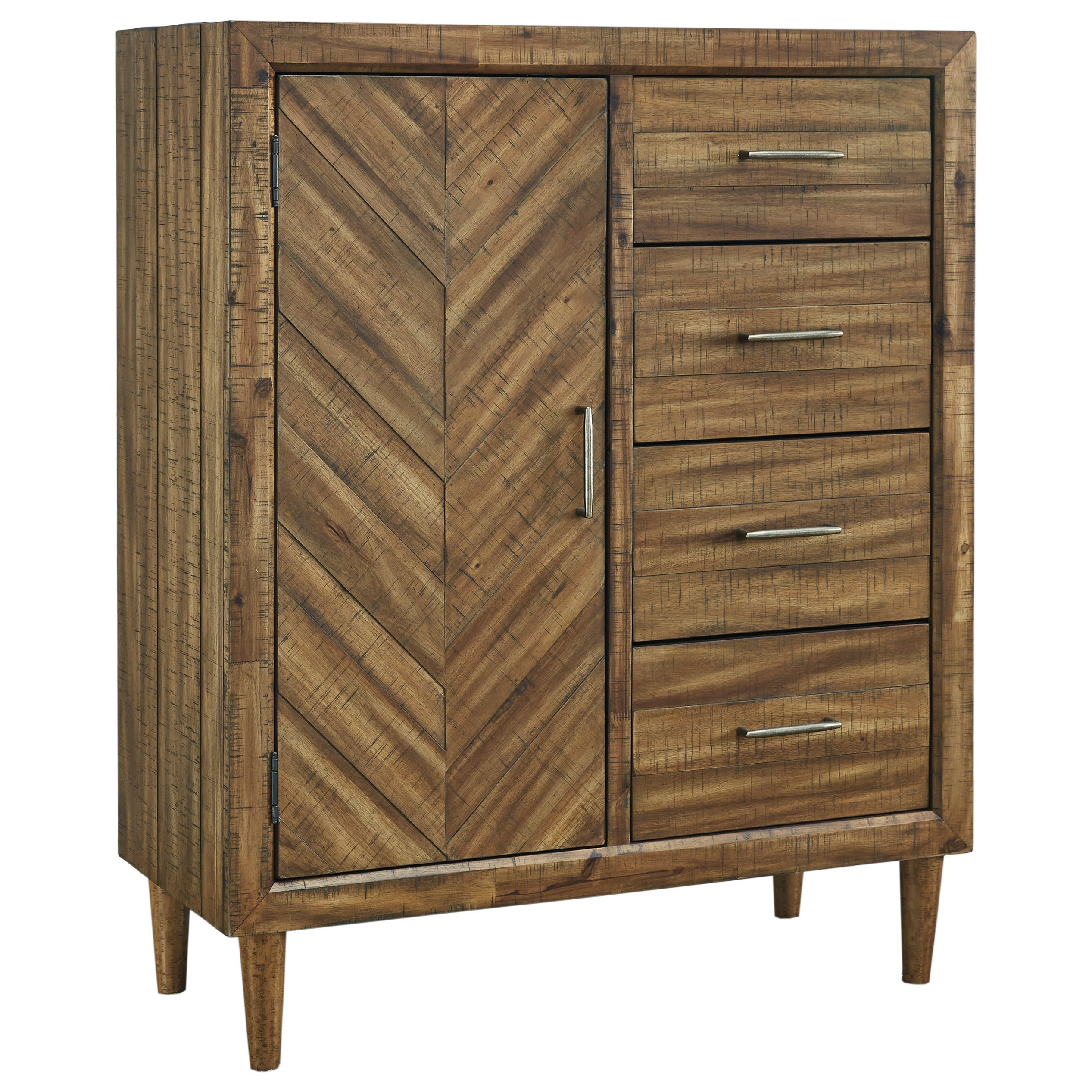 Mid-Century Modern Door Chest with 4 Drawers
