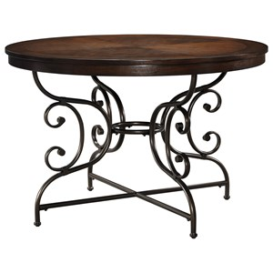 Transitional Round Dining Room Table with Scrolled Metal Pedestal