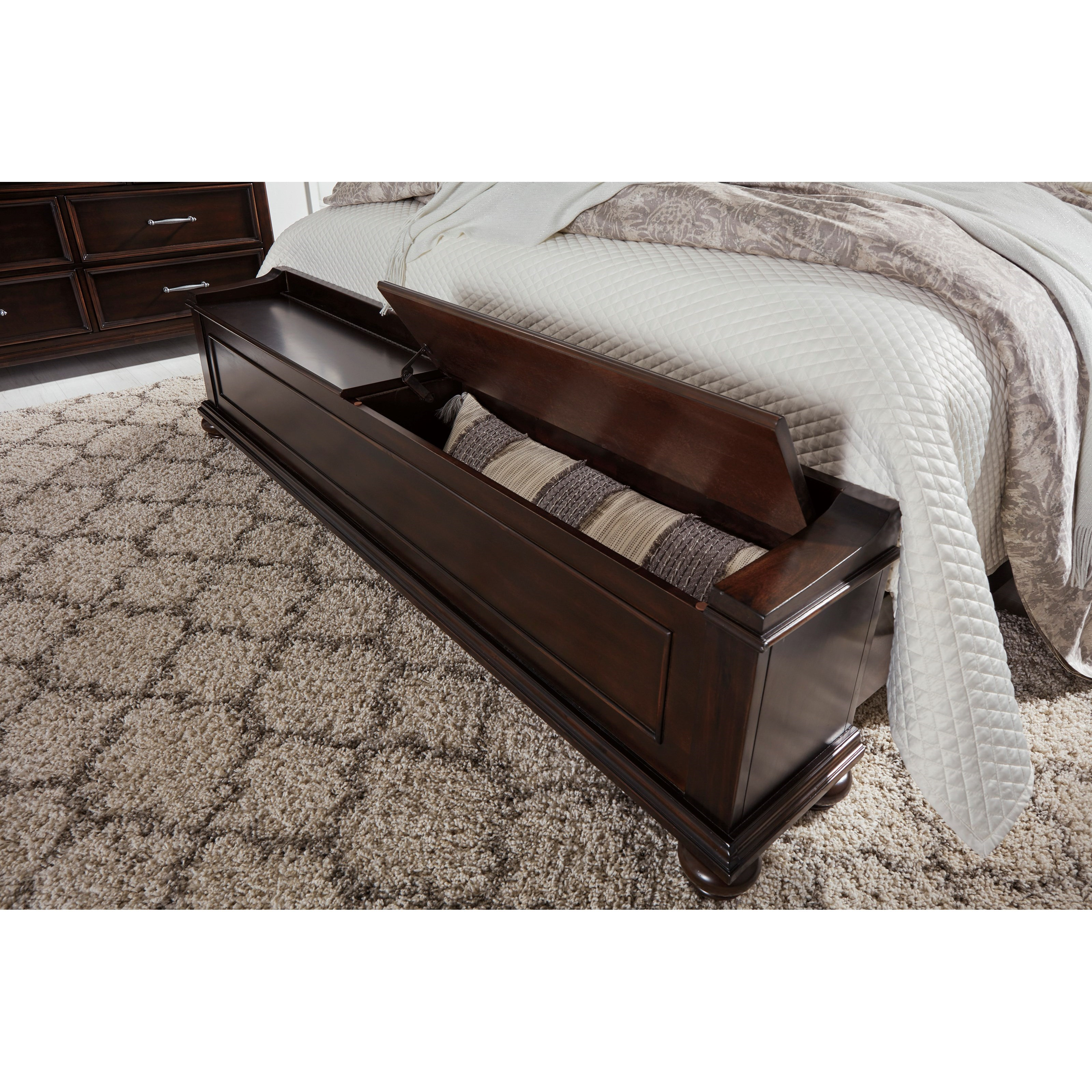 Bench By Bed: Traditional Queen Panel Bed With Storage Bench By