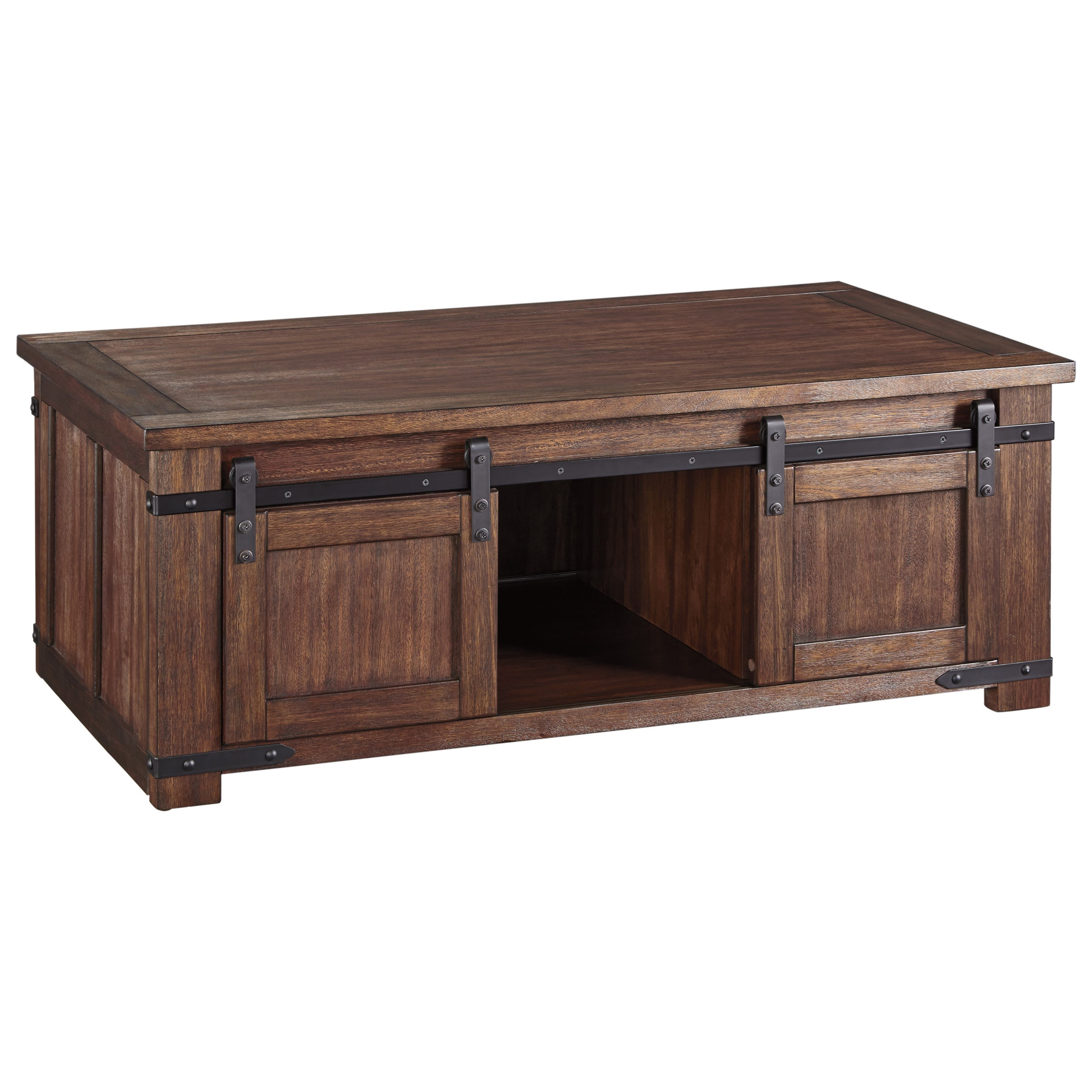 Rustic Cocktail Table with Sliding Barn Doors