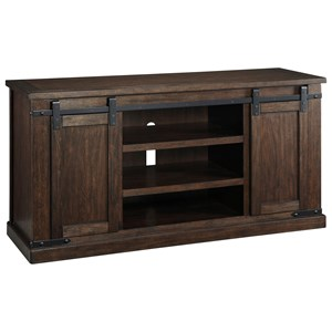 Mango Veneer Large TV Stand with Barn Doors