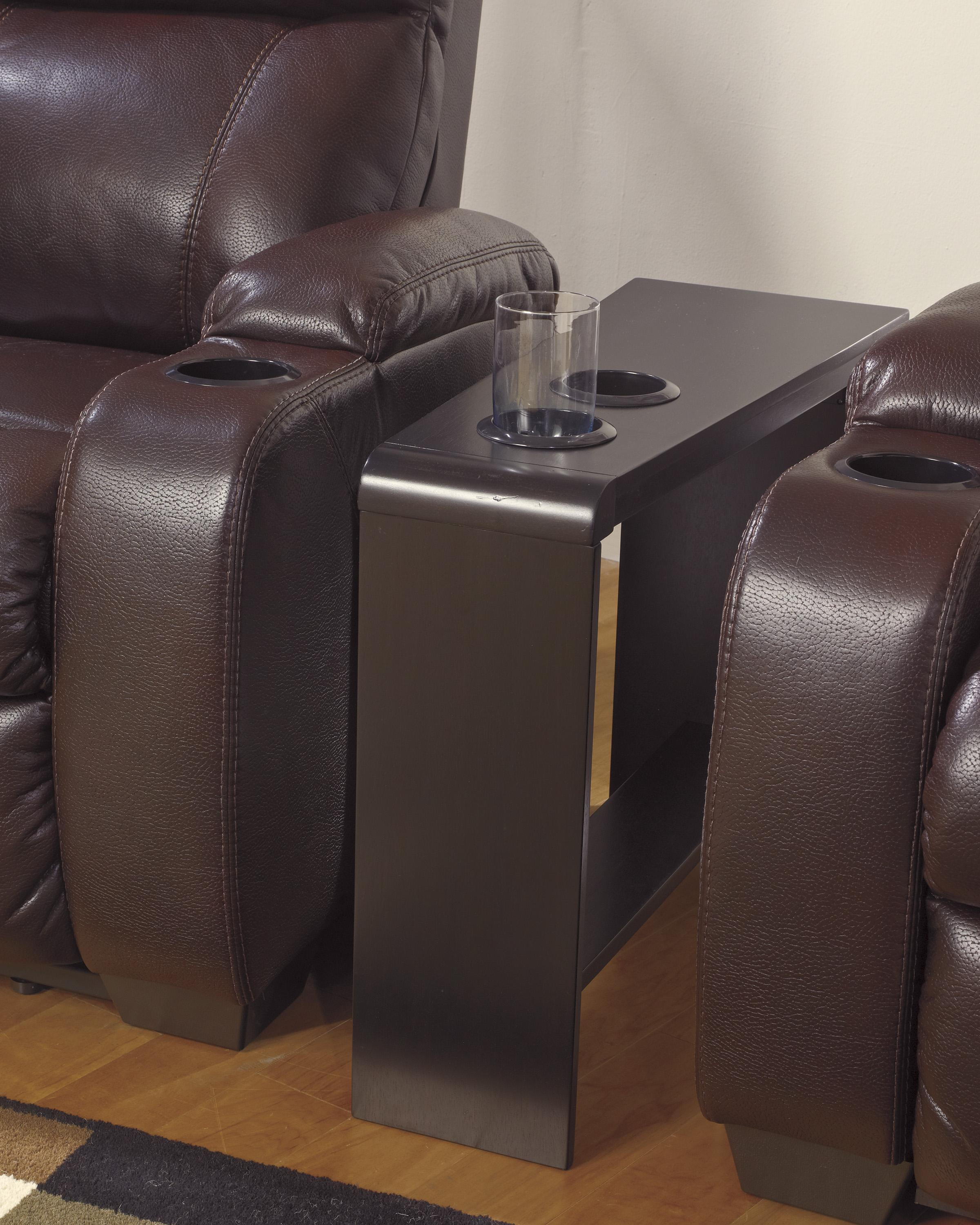 Chair Side End Table With 2 Cup Holders, Powerstrip, U0026 USB Charging