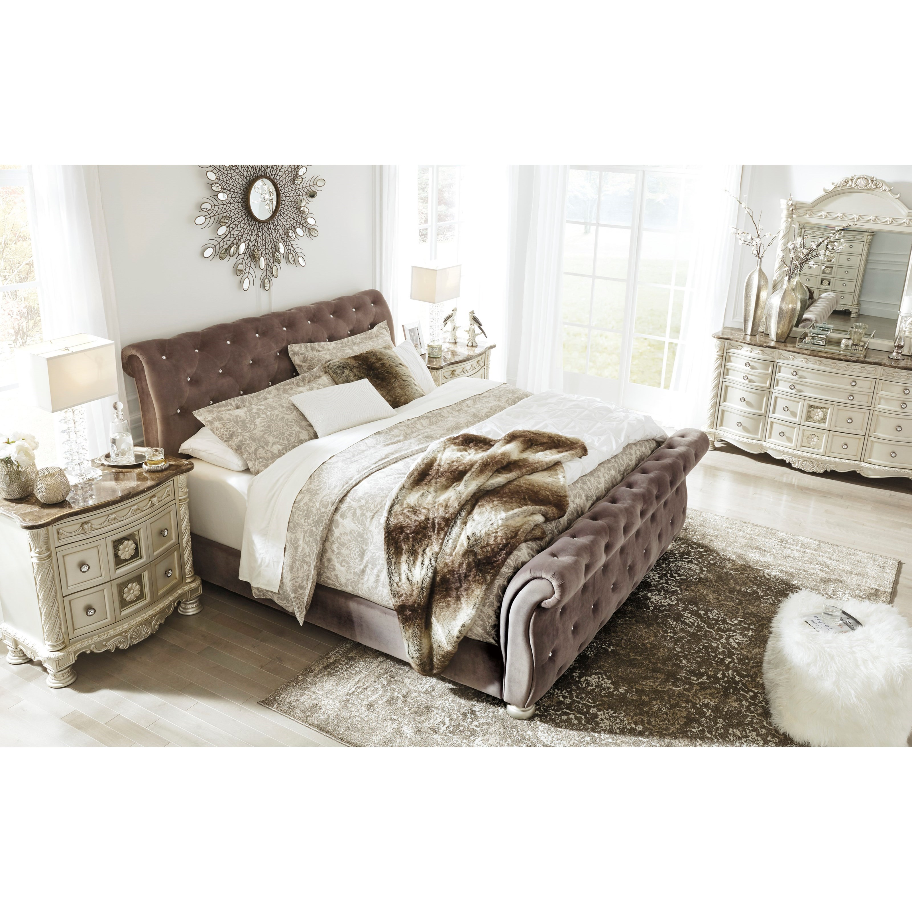 waverly furniture taupe with king bed tufted fbx max model upholstered button mtl models obj sleigh