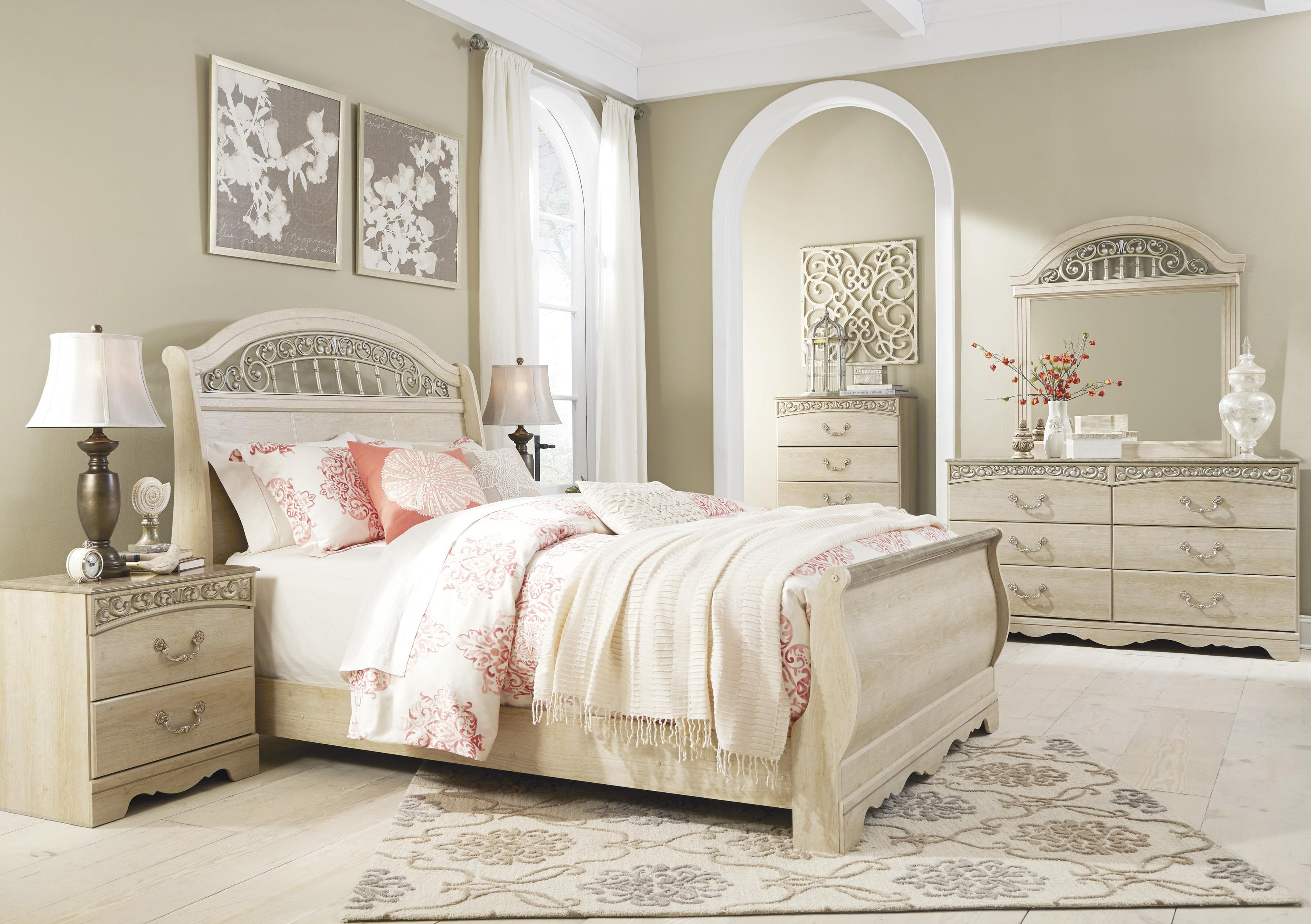 Traditional queen sleigh bed with metal fretwork by - Ashley furniture full bedroom sets ...