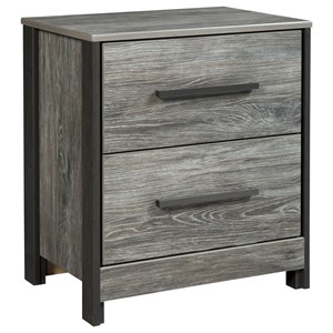 Modern Rustic Two Drawer Night Stand with USB Charging Ports