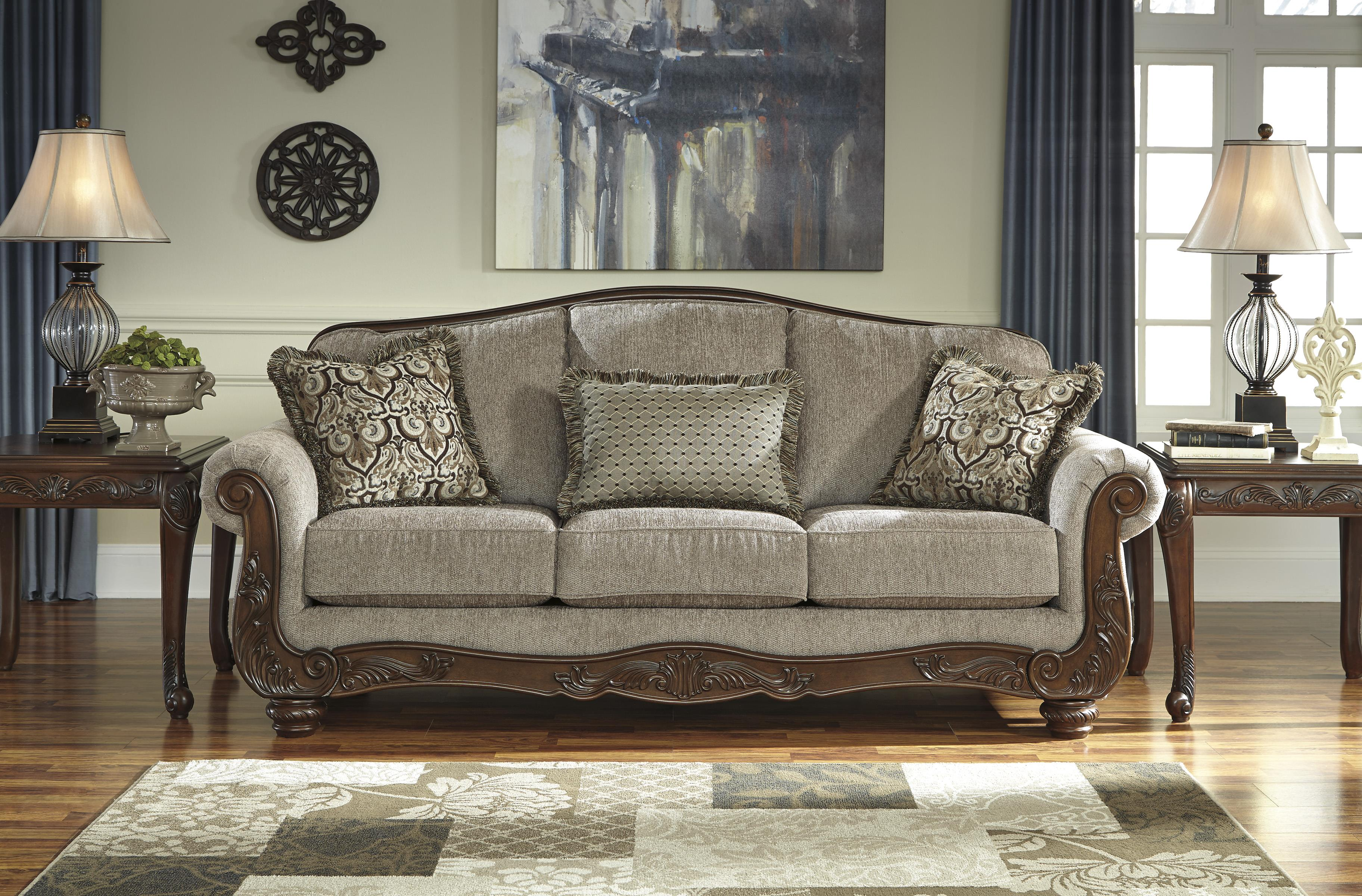 Traditional Sofa with Showood Trim & Camel Back by Signature