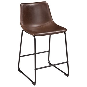 Contemporary Faux Leather Upholstered Barstool with Bucket Seat