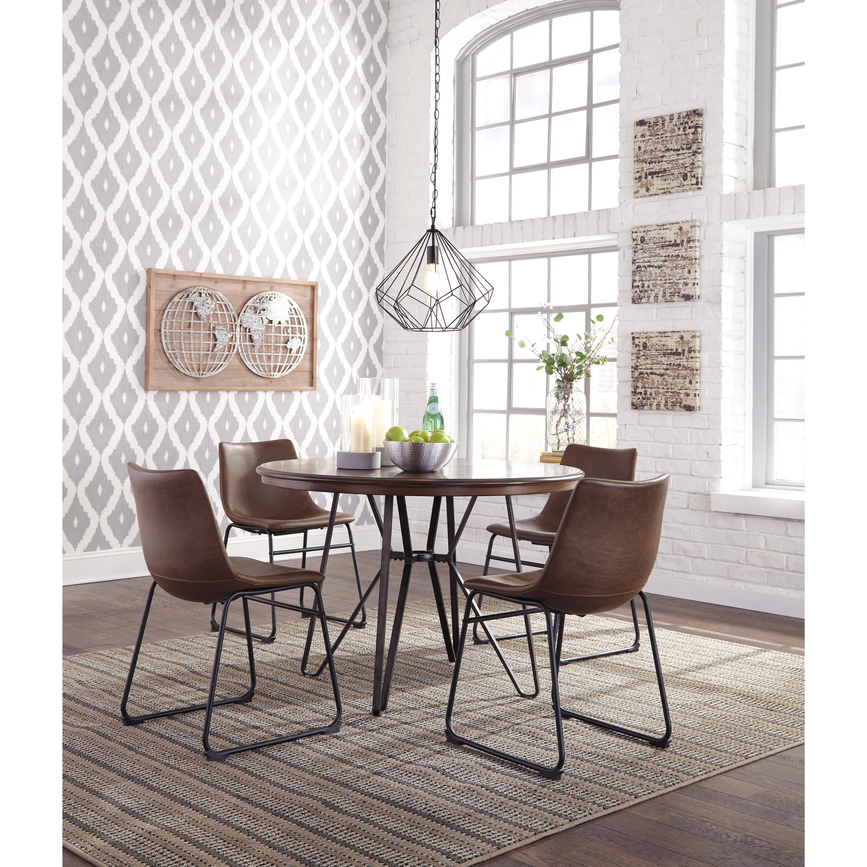 5 Piece Small Round Table And 4 Dining Chairs: 5-Piece Round Dining Table Set By Signature Design By