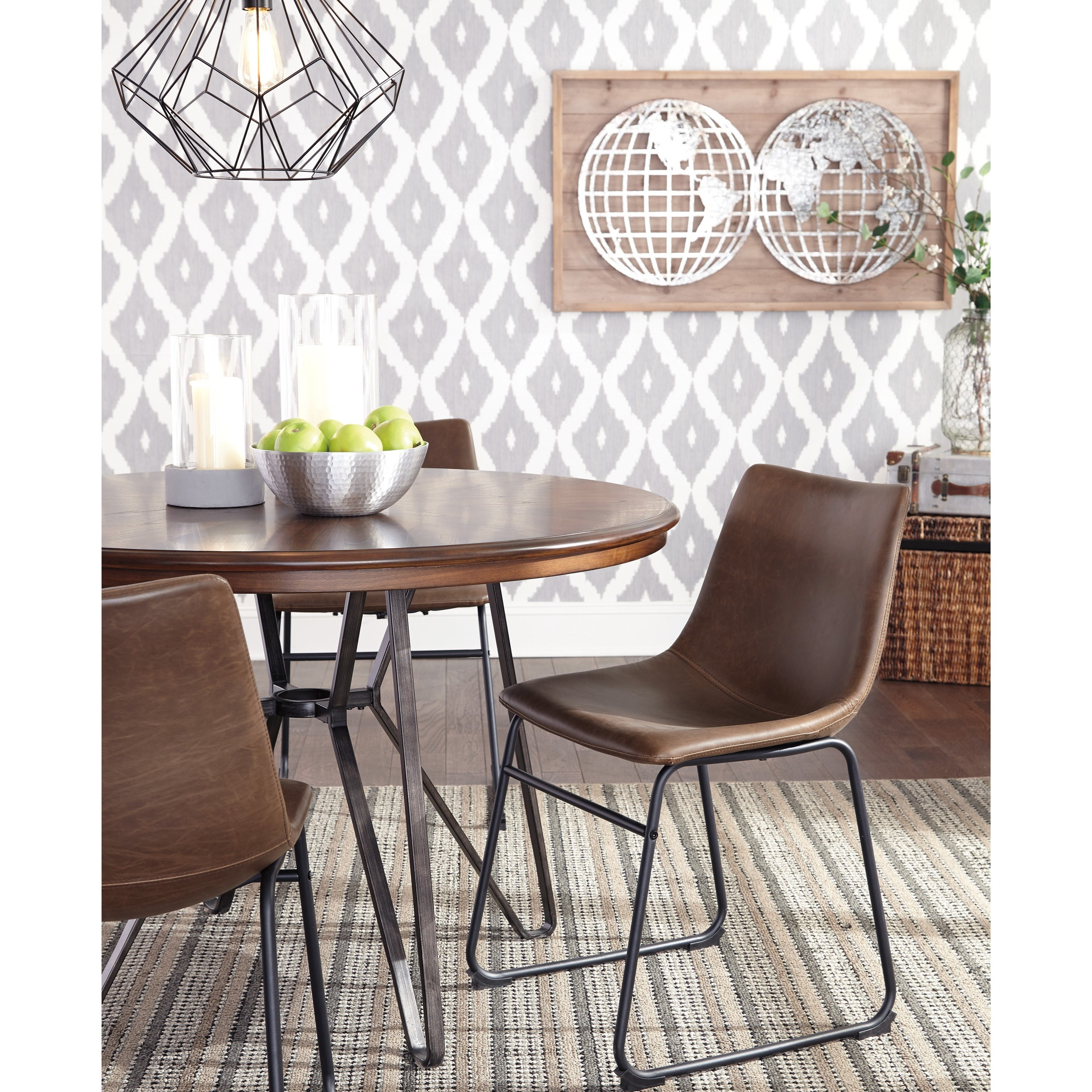 Round Dining Room Table With Metal Hairpin Legs By