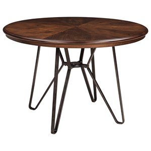 Round Dining Room Table with Metal Hairpin Legs
