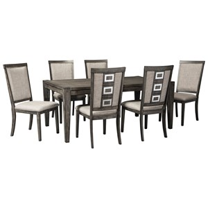 5 Piece Contemporary Rectangular Table and Chair Set with Removable Leaf