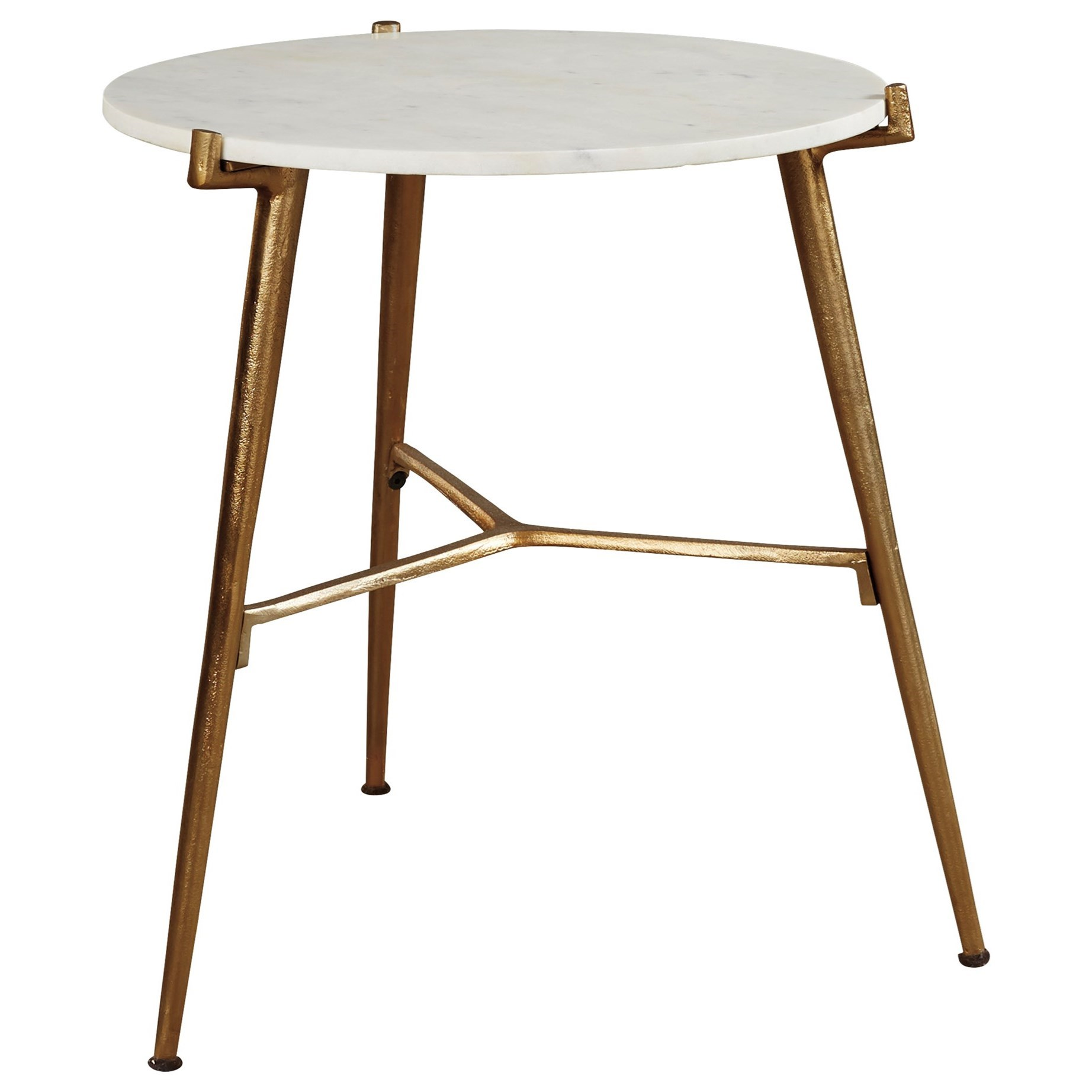 Contemporary Accent Table with White Marble Top and Gold Finish Base