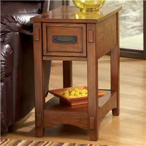 Brown Mission Cross Island Chairside End Table with Slide Board